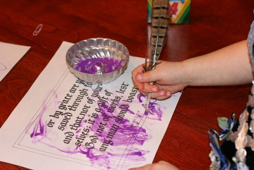 """Reformation Day Ideas ~ Have your little one """"transcribe"""" the Bible by copying an entire page or just a chapter of the Bible in their own handwriting. Or just have them write one verse."""