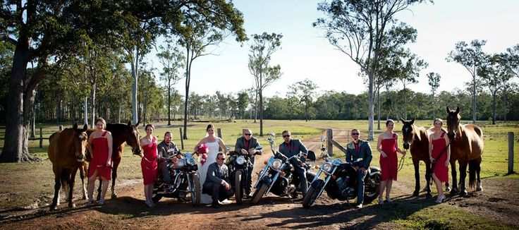 Girls and guys best friends and toys.  Horses and motor bikes. best of both worlds with this wedding
