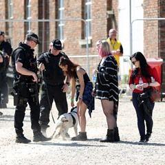 Armed police patrol the Radio 1 'One Big Weekend' festival near Hull UK