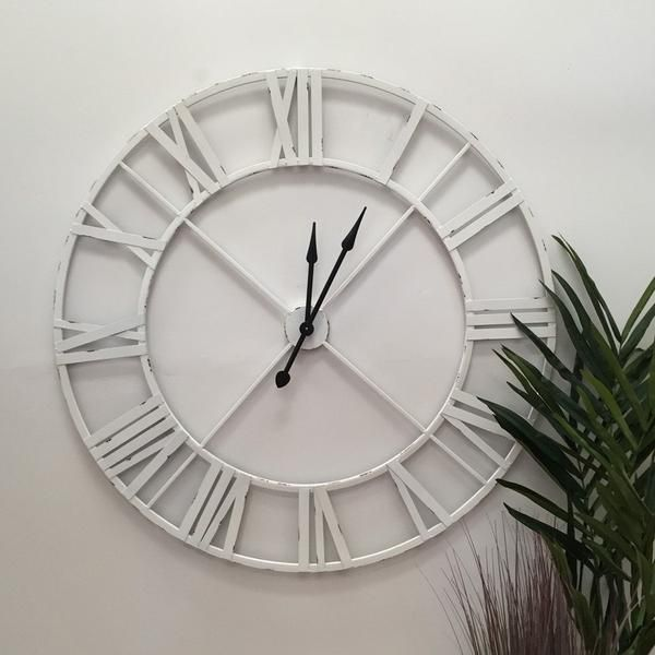 Distressed Oversized Vintage White Skeleton Clock Skeleton Wall Clock Skeleton Clock Clock