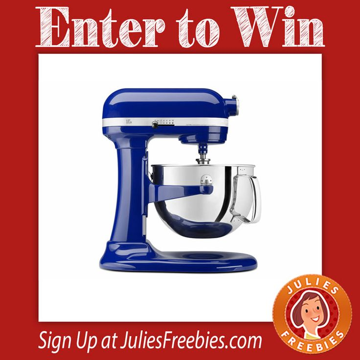 Facebook Twitter PinterestHere is an offer where you can enter to win a KitchenAid Artisan Mixer! PRIZES – KitchenAid Artisan Mixer ENTRY – 3 Entries Per Day ENDING – July 25, 2016 ENTER HERE