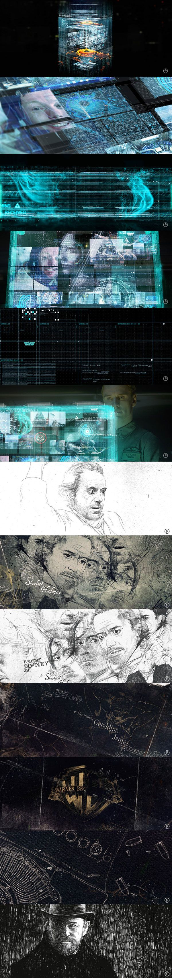 Ash Thorp Ui for the movie Promotheus and Sherlock Holmes credits.