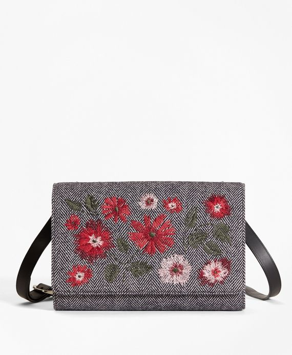 "<a href=""#pdplearnmore"" class=""lm"">The Red Fleece Collection</a><br>Crafted from sleek leather and pure wool in a menswear-chic herringbone pattern, this petite shoulder bag features vibrant embroidered flowers for a bold, feminine finish. The interior has a cotton twill lining and a zip pocket.<br><br>9½"" wide x 6¾"" long x 2¼"" deep; 22½"" strap drop; imported."