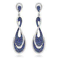 Blue Sapphire Diamond Ladies Infinity Earrings by Luxurman 4ct 14K Gold