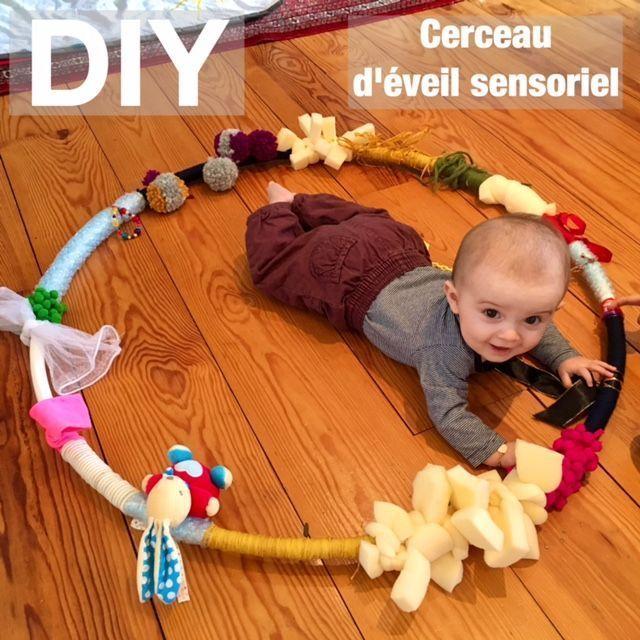 Éveil sensoriel : le DIY du cerceau à toucher – sorryso – #à #cerceau #DIY …
