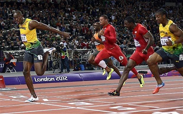 Usain Bolt wins the 100 metres (Telegraph)