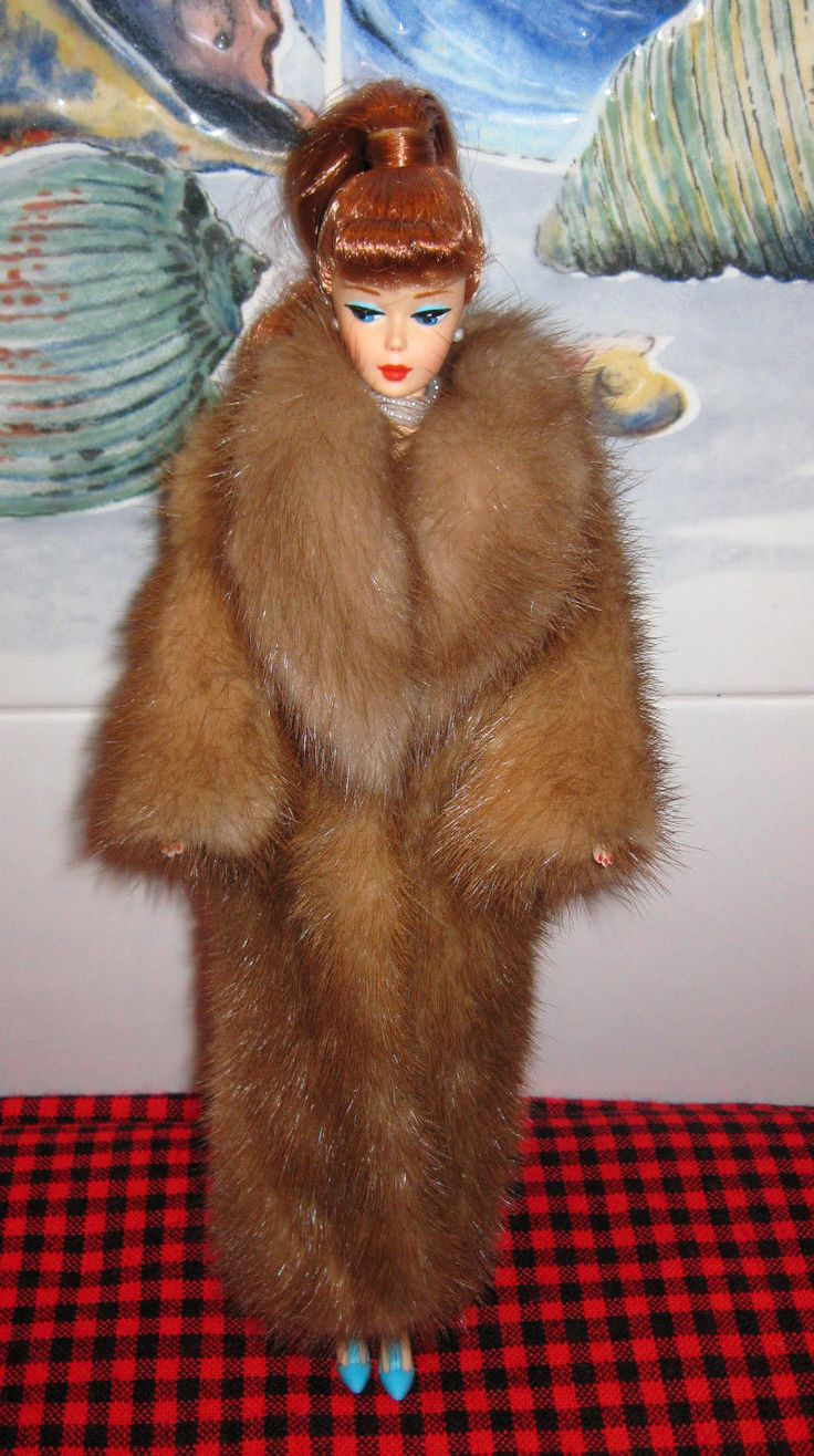Gorgeous Redhead Barbie Doll Designer Genuine Mink Coat OOAK Jewelry Shoes Mint | eBay