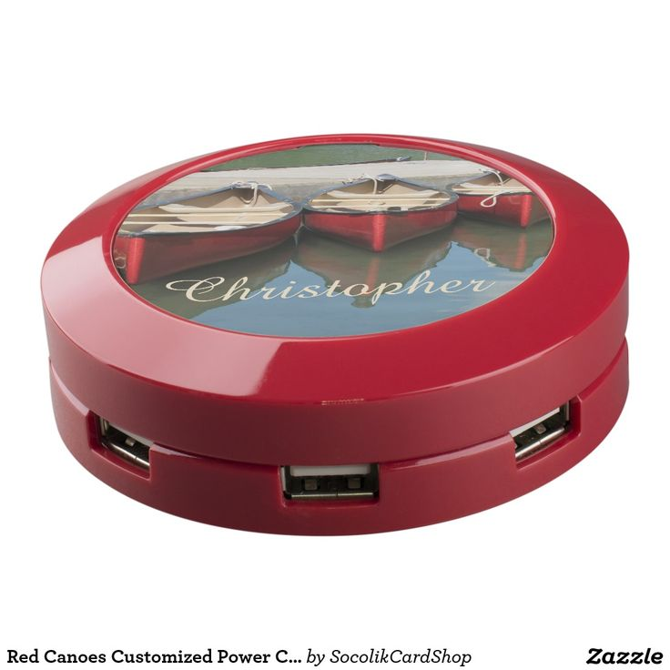Red Canoes Customized Power Charger Hub USB Charging Station - This personalized Power Charger Hub is decorated with our original photograph of red canoes and their reflection in a lake. What a unique and fun design. Great Christmas stocking stuffer for your favorite guy, or gift for ushers or groomsman/groomsmen. This power hub keeps all your electronics charged. Easy to personalize the large off white script text. Original photograph by Marcia Socolik. All rights reserved © 2015 A&M…