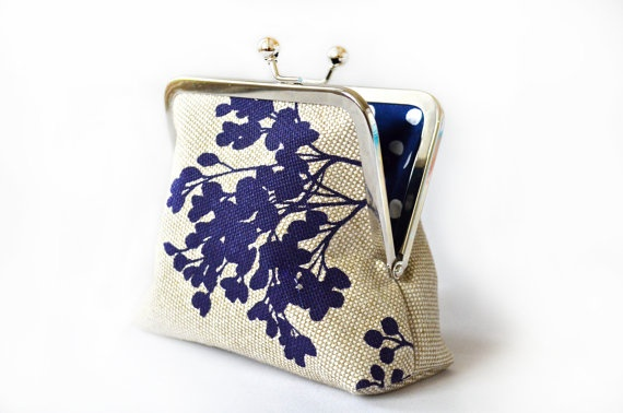 Small Navy Flower Clutch Lined in White Polka by loliscreations, $23.00