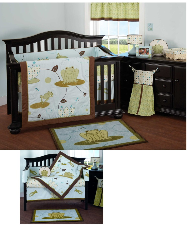 Blue Amp Brown Frog Baby Bedding Set 6pc Baby Boy Crib
