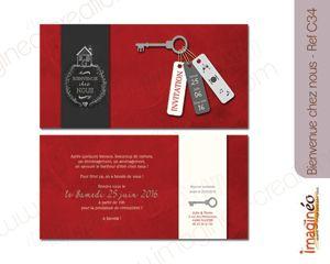 carton invitation crémaillère, bienvenue chez nous, pendaison crémaillère, rouge, gris, ivoire, clé, rétro, style ardoise, imagineo, invitation, original, maison, inauguration