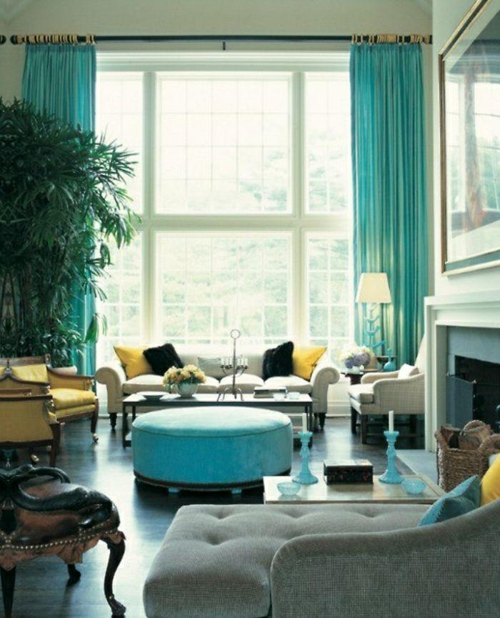 trendy voilage ikea bleu dans la salle de sjour bleue with voilage saint maclou. Black Bedroom Furniture Sets. Home Design Ideas