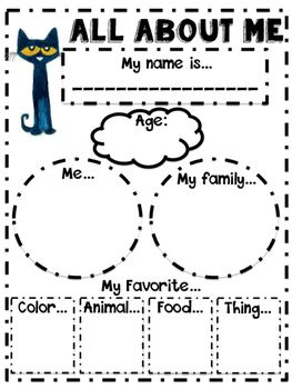 Cute and simple Pete the Cat All About Me Poster for your Back to School needs…