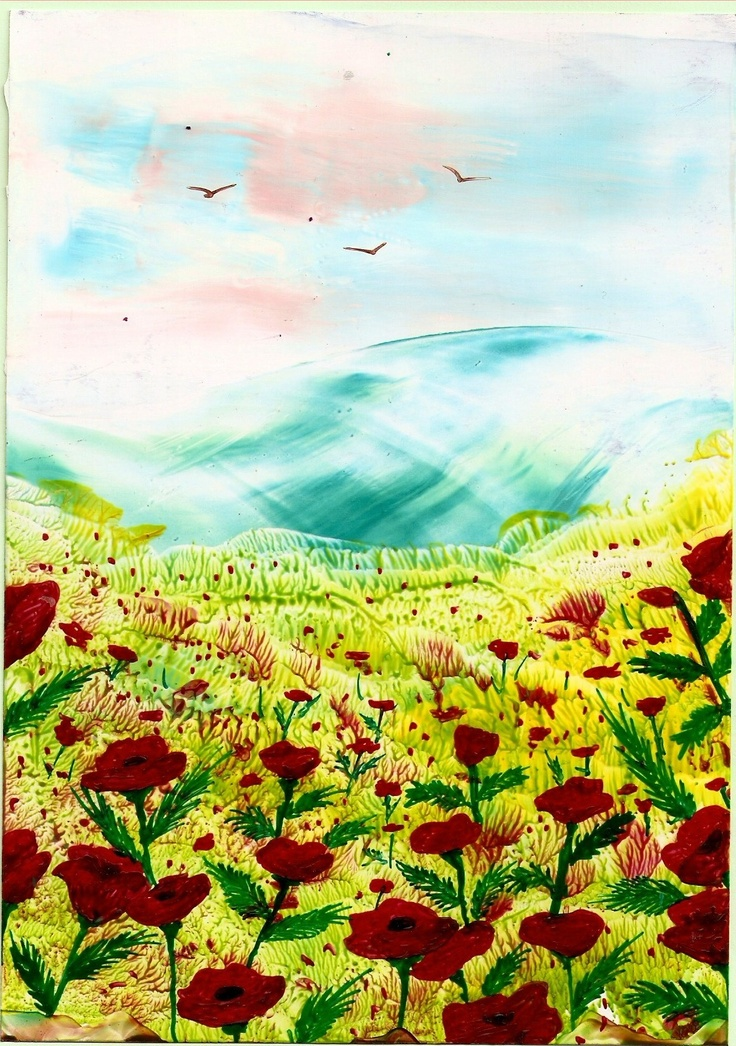 poppy field one of my encaustic art paintings