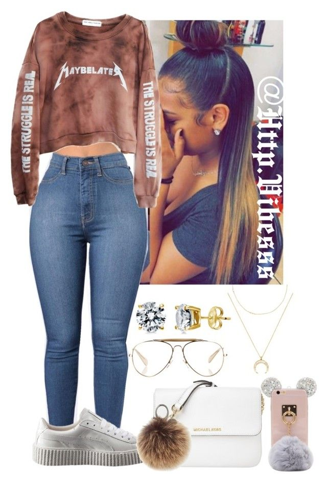 """Untitled #955"" by jazaiah7 ❤ liked on Polyvore featuring High Heels Suicide, Puma, Michael Kors, Rebecca Minkoff, CÉLINE, BERRICLE and BaubleBar"