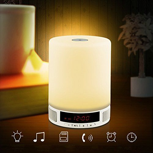 KOBWA Bluetooth Wireless Lampe Lautsprecher LED Kinder Nachtlicht Touch Control Lamp und Wecker Alarm - TF Karte Unterstützt - Freisprecheinrichtung - USB Charging Bluetooth Speaker Geeignet für Den Innen und Außengebrauch Kids Home Deco Arbeiten Lesen Camping Usw