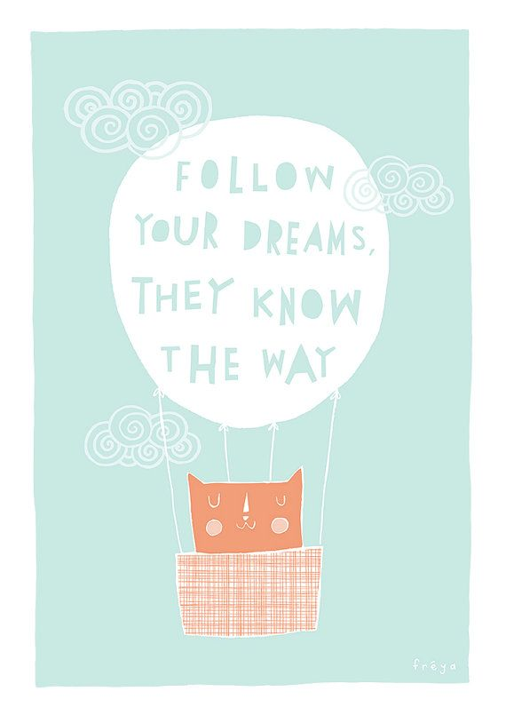 So pretty, would be lovely for a girl's bedroom  Follow Your Dreams  Fine Art Print Large by FreyaArt