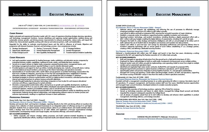 CEO Resume Sample #1 page 1