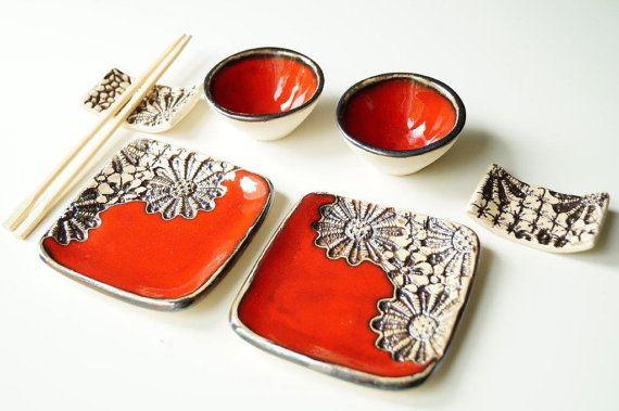 Sushi Serving Set Ceramic Set  Sushi Set for 2 Rustic by bemika