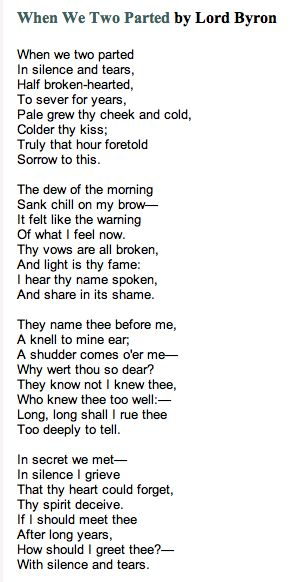 "Lord Byron- I love this...reminds me of someone ""they knew not i knew thee who knew thee too well...long long shall I rue thee ,too deeply to tell."" ""I hear thy name spoken, a knell to my ear, a shudder comes o'er me, why wert thou so dear?"" ain't that the truth!"