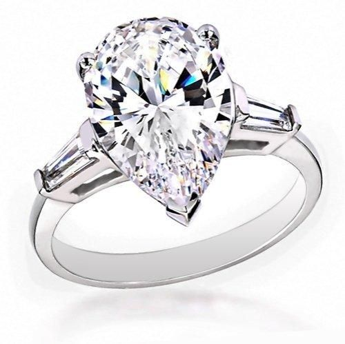 Bling Jewelry Classic Pear Baguette Silver Engagement Ring