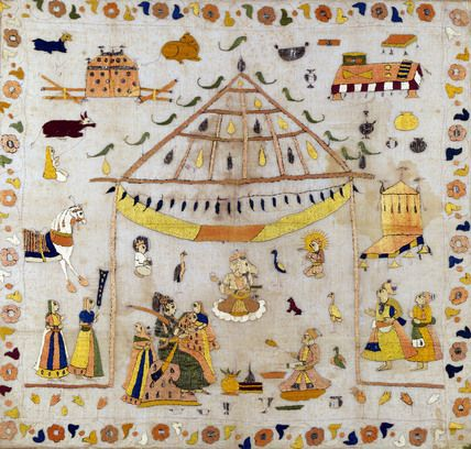 Textile, Rumal, muslin silk embroidery depicting a Marriage Ceremony. Ikat. Punjab Hills, India, 19th century.