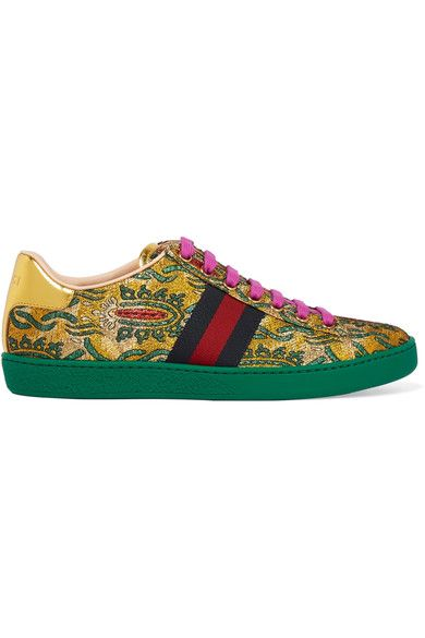 Gucci - Ace Metallic Leather-trimmed Brocade Sneakers - Green - IT