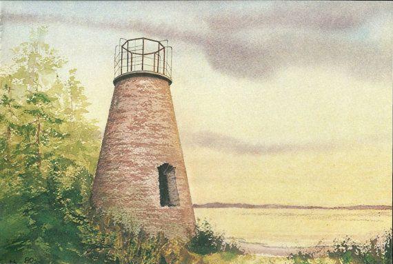 Lighthouse Print  Vintage Lighthouse Book by VickiesBeachHouse