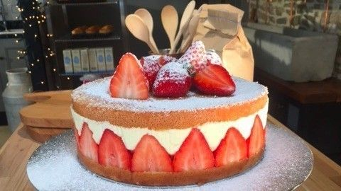 Strawberry and orange curd fraisier