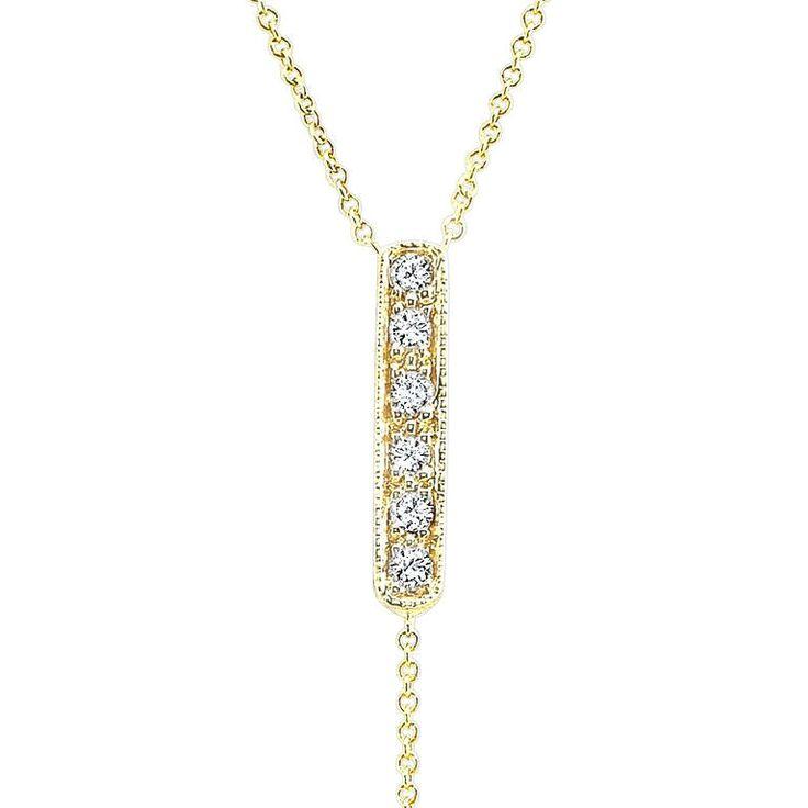 CARRIE handmade lariat in 14K yellow gold, Italian gold chains & diamonds