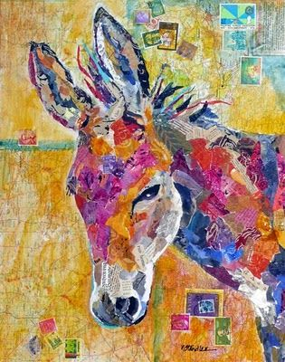 Nancy Standlee Fine Art: Dena's Daisy ~ Painted Paper Painting Collage ~ Acrylic Donkey by Texas Daily Painter Nancy Standlee