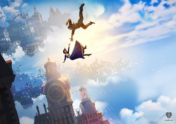 Falling - Bioshock Infinite - Falling is part of the official BioShock Infinite art collection. The artwork captures the key elements of the game in one iconic image. This limited-edition original digital art giclee is signed by BioShock's creator and one of the founders of Irrational Games, Ken Levine.