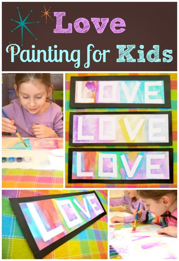 Easy love painting for kids with stunning results -- just in time for Valentine's Day! Scan and use for cards too. :-) #kids #parenting #ece