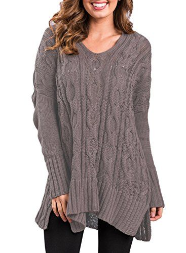 8a9fd544943992 Women s Long Sleeve V Neck Casual Loose High Low Knit Pullover Sweaters  Oversized Blouse Tops Jumper Solid Brown S 4 6