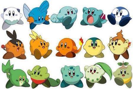 Pokemon starters as Kirby via Reddit user TyStevie