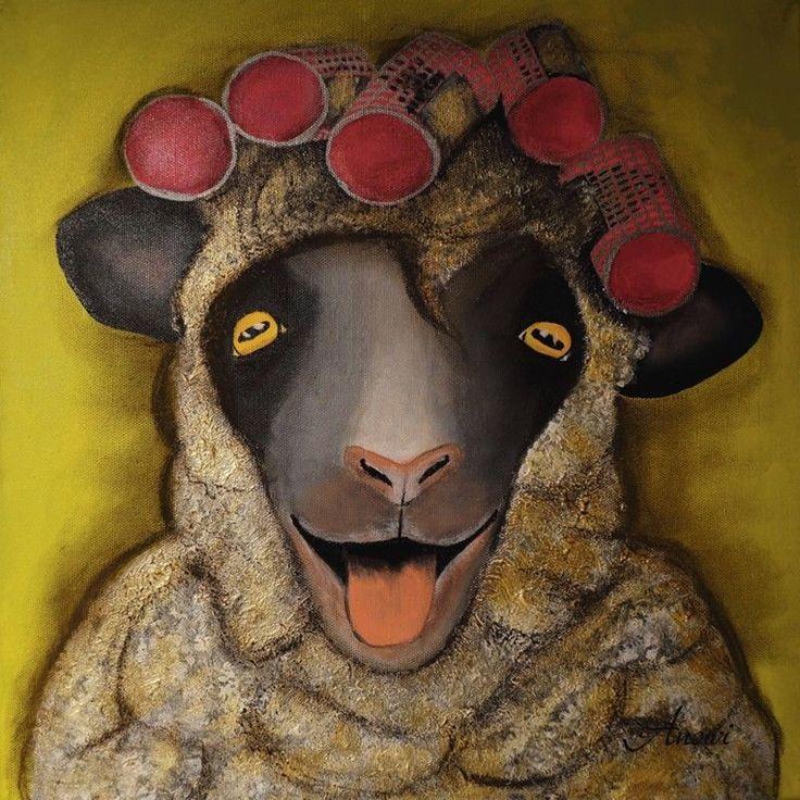 Glasbild Anowi Tiere Humor Malerei Oliv    eBay