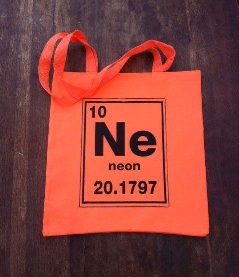 neon orange periodic table of elements chemistry tote bag