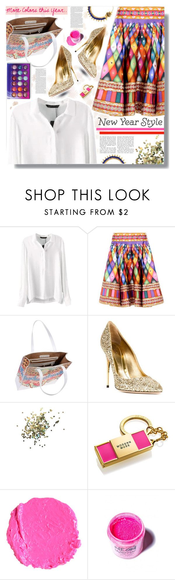 """New Year's Style Resolution"" by prigaut ❤ liked on Polyvore featuring Manish Arora, ASOS, Sebastian Milano, Topshop, Estée Lauder, Medusa's Makeup, newyear, MoreColors and MakeLifeColorful"
