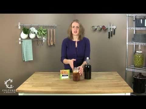 Kombucha recipe & how to video. Great drink w/lots of probiotics & goodness.