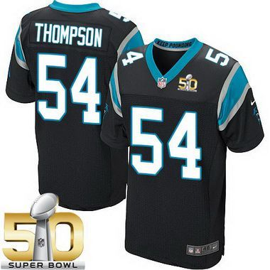 Men's Carolina Panthers #54 Shaq Thompson Black Team Color 2016 Super Bowl 50th Patch Bound Elite Jersey