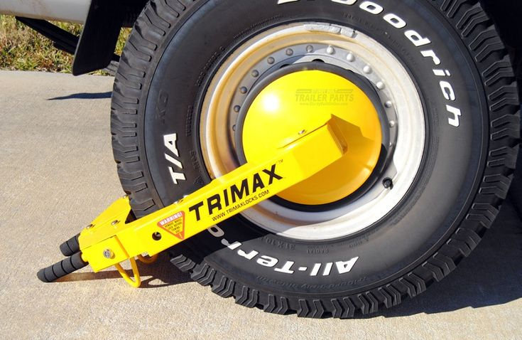 Trimax Trailer Wheel Lock Boot Clamp TWL100At least one of these, in combination with a good hitch lock should deter just about any thief from trying to hitch up your trailer and ride away with it.