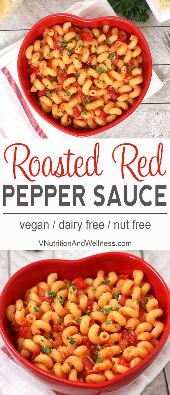 Vegan Roasted Red Pepper Sauce | This vegan Roasted Red Pepper Sauce is tasty & ready in 15 minutes. vegan recipe, vegan pasta, vegan sauce  via @VNutritionist