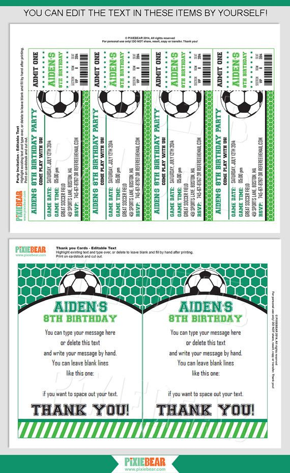 Best 25+ Soccer tickets ideas on Pinterest Soccer party, Party - foot ball square template