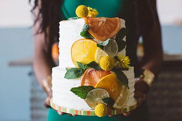 Photo from Retro+Tropical+Industrial+Fusion+ collection Styling by Dana Smyl Event Florist. Photography by Michelle+Larmand+Photography. Cake by Melissa Martin