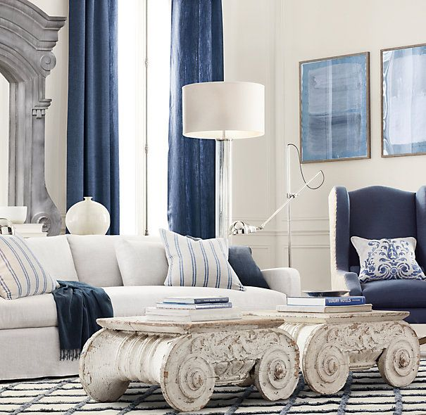 White Living Spaces: French Blue At Restoration Hardware