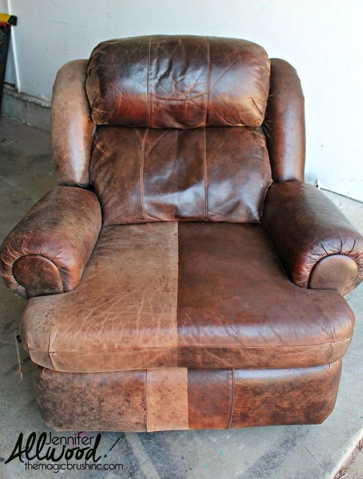 Have a worn out leather chair?  Don't throw it out... you can actually paint it.  Yes, leather paint is real! How many of you have leather furniture that…