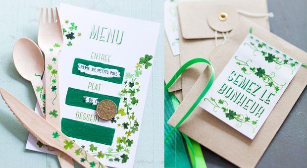 """Nos étiquettes """"trèfle"""" pour le printemps Pour célébrer le printemps, rien de tel qu'une déco de table ambiance """"verdure"""" avec ces étiquettes ornées de trèfles qui composent un charmant menu surprise à gratter, un petit cadeau d'assiette à faire pousser et des marque-places."""