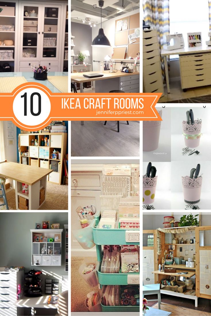 She gathered all of the BEST Ikea Craft Room Ideas into one place! LOADS of room tour videos to watch plus they tell which Ikea pieces were used in each room.