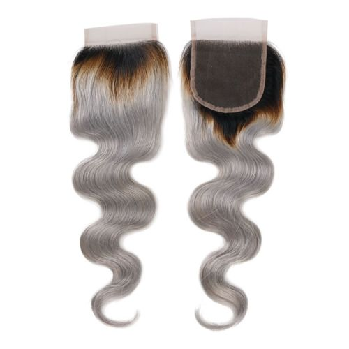 Remy Brazilian Hair Bodywave 4x4 Free Part Lace Closures Hair 10-16 Inch Silver Grey Ombre Color $54.00