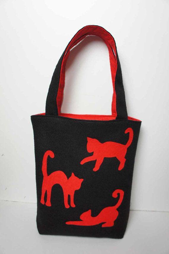 Felt Bag With Cats  Handmade Wool Bag  Shoulder Felt by FeltMkr, $29.00